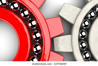 Closeup of two gear bearings illustrating team work as concept