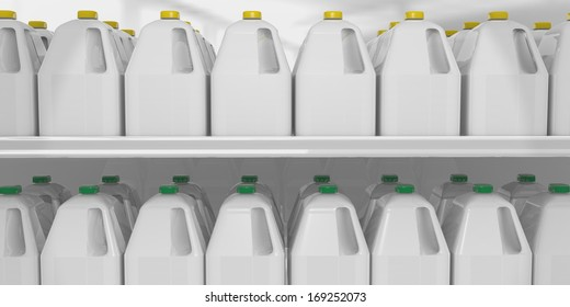 closeup of two shelves of gallon milk jugs displayed for sale at a supermarket
