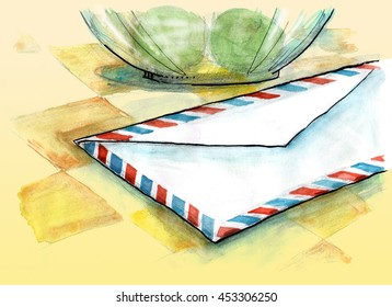 Close-up view of air mail envelope on the table. Hand drawn illustration digitally colored