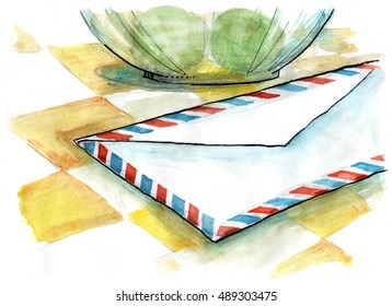 Close-up view of air mail envelope on the table. Hand drawn illustration. Watercolor painting