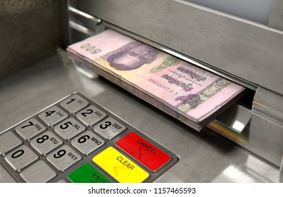 A closeup view of an atm facade with an illuminated sceen and keypad and a wad of thailand bhat banknotes being withdrawn from the cash slot - 3D render