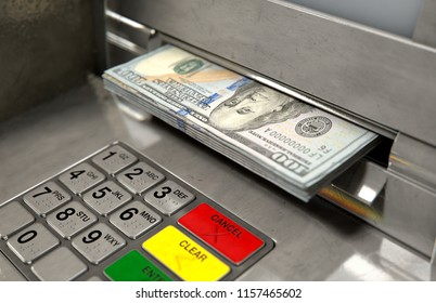 A closeup view of an atm facade with an illuminated sceen and keypad and a wad of US dollar banknotes being withdrawn from the cash slot - 3D render