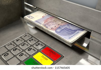 A closeup view of an atm facade with an illuminated sceen and keypad and a wad of british pound banknotes being withdrawn from the cash slot - 3D render