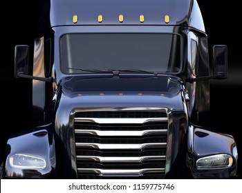 Close-up view of black fuel cell powered American truck on black background. 3D rendering image.