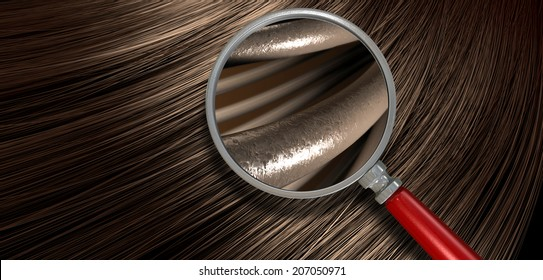 A closeup view of a bunch of shiny straight brown hair in a wavy curved style with a section microscopically magnified to show individual strands of hair
