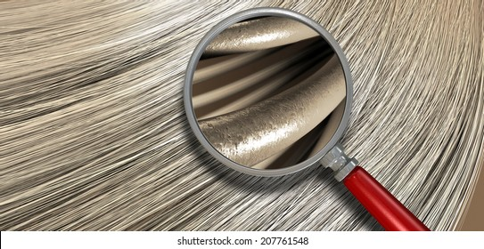 A closeup view of a bunch of shiny straight blonde hair in a wavy curved style with a section microscopically magnified to show individual strands of hair