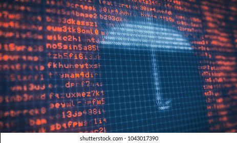 close-up view of a computer screen with random text and an umbrella made with binaries numbers, concept of computer security and protection (3d render)