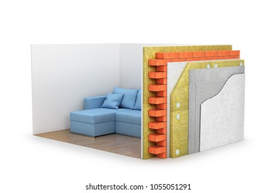close-up view of the cross-section of the wall. All layers. heat insulation. 3d illustration