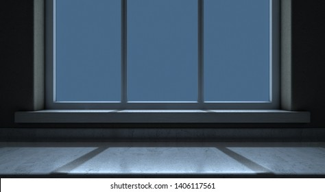 A closeup view of an empty kitchen countertop facing a window looking outwards in the night time - 3D render