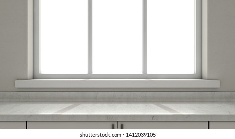 A closeup view of an empty kitchen countertop facing a window looking outwards In the morning - 3D render