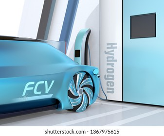 Close-up view of Fuel Cell powered autonomous car filling gas in Fuel Cell Hydrogen Station. 3D rendering image.