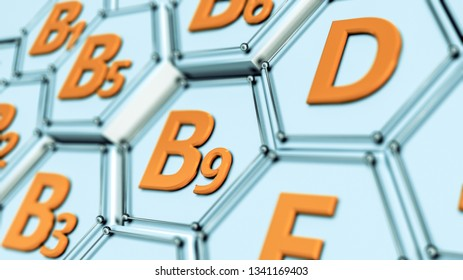 closeup view of an hexagon grid with vitamins name (3d render)
