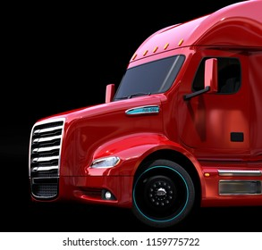 Close-up view of metallic red fuel cell powered American truck on black background. 3D rendering image.