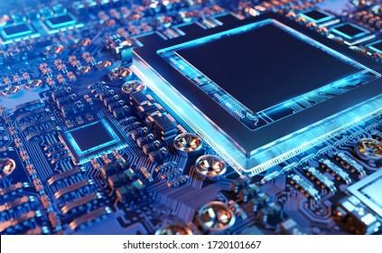 Nahaufnahme einer modernen GPU-Karte mit Schaltkreis und bunten Lichtern und Details 3D-Darstellung