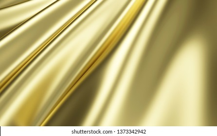 Close-up View on Rippled Gold Silk Fabric. 3D rendering