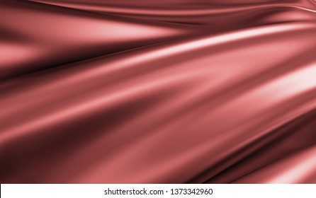 Close-up View on Rippled Red Silk Fabric. 3D rendering