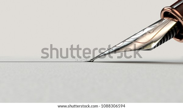 A closeup view of an ornate metal nib of an old fountain pen drawing a straight ink line on a textured paper surface - 3D render