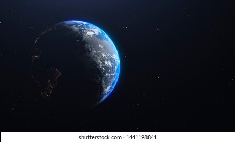 Closeup view of planet earth among the stars. Astrophysics theme 3d render for business and science presentation