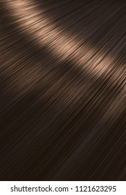 A closeup view of a section of glossy straight brown brunette hair in a wavy style - 3D render