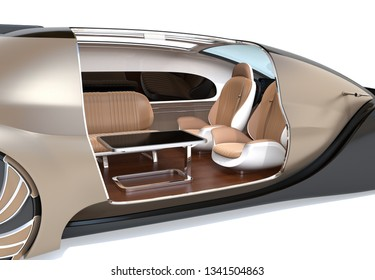 Close-up view of self driving electric car interior on white background. 3D rendering image.