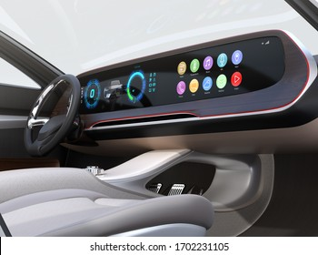 Close-up view of self-driving electric car's interior.  Wide dashboard with generic multimedia icons design. 3D rendering image.