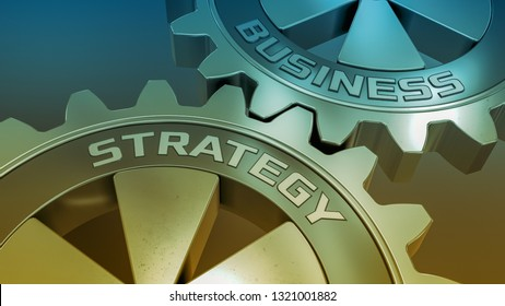 closeup view of two cogwheels, concept of  business strategy (3d render)