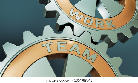 closeup view of two cogwheels with the words: team and work (3d render)