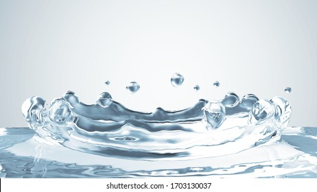Close-up View of Water Crown Splash on gradient background. 3D Rendering