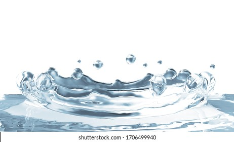 Close-up View of Water Crown Splash on isolated on white background. 3D Rendering