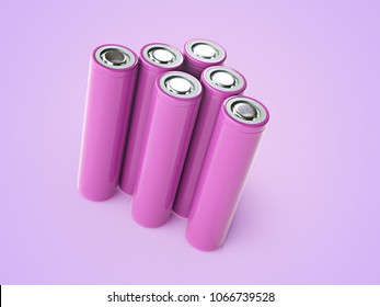 Closeup of violet pile of li-ion batteries. Close up colorful rows of selection of 18650 batteries energy abstract background of colorful batteries. 3d illustration