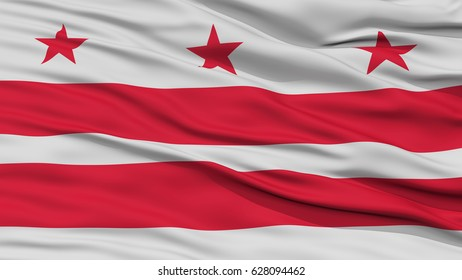 Closeup Washington DC City Flag, Capital City of United States of America, Waving in the Wind