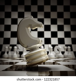 closeup white chess horse background 3d illustration. high resolution