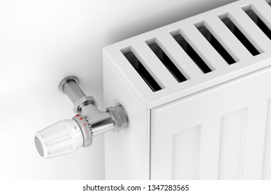 Close-up of white heating radiator with thermostat valve. 3D illustration
