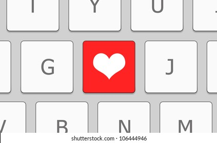 Close-up white keyboard with heart sign. Love concept