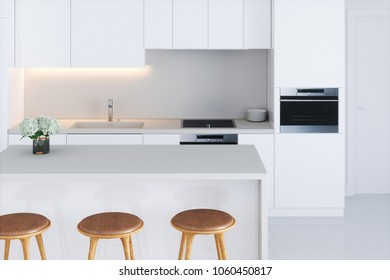 Closeup white minimalistic kitchen 3d render