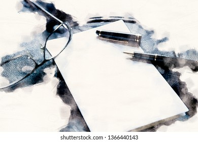 closeup of white paper and a stylish pen and eyeglasses in watercolors