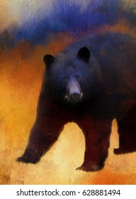 Closeup of a wild black bear turned into a colorful painting