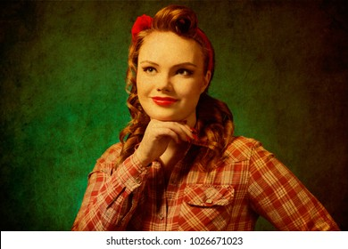 Closeup young pretty pinup girl red button shirt,  retro vintage 50's style. Human emotions body language