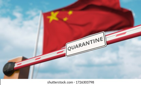 Closing boom barrier with QUARANTINE sign against the Chinese flag. Border closure or infection related isolation in China