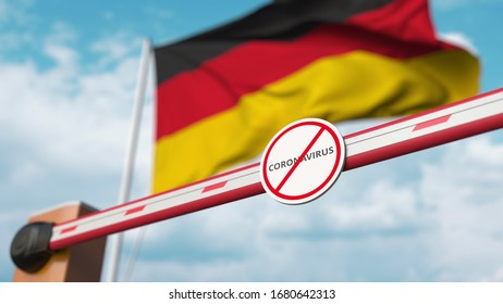 Closing boom barrier with STOP CORONAVIRUS sign against the German flag. Quarantine in Germany. 3D rendering