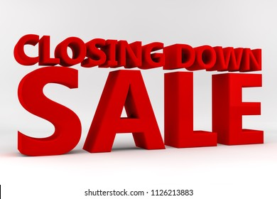 Closing down sale written in red 3d letters on a white background.