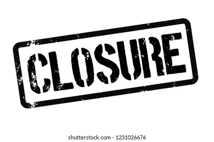 closure stamp on white background. Sign, label, sticker.