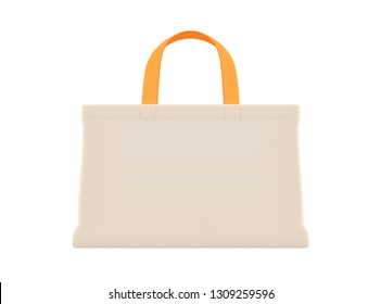cloth eco bag orange handle, cotton yarn cloth bags blank, empty bags isolated on white, fabric cloth eco bag empty template for campaign to use bags to reduce waste plastic, eco bag cloth shopping