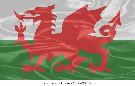 A cloth national dragon flag of Wales