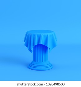 Cloth on a pedestal on bright blue background. Minimalism concept. 3d render