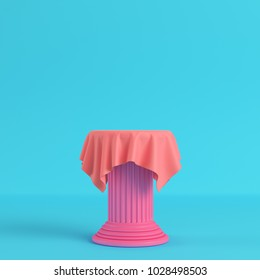 Cloth on a pedestal on bright blue background in pastel colors. Minimalism concept. 3d render