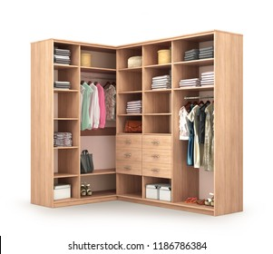 clothe in wardrobe isolated 3d render