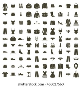 Clothes icon set, collection of fashion signs and symbols.