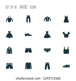 Clothes icons set with hoodie, sleeveless tank, evening gown and other briefs elements. Isolated  illustration clothes icons.