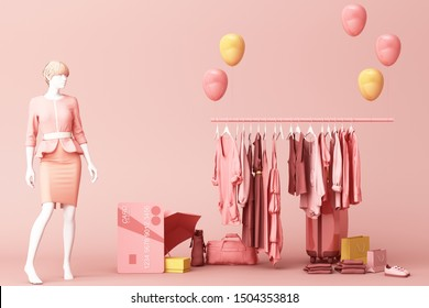 Clothes mannequinson a hanger surrounding by bag and market prop with credit card on the floor. 3d rendering